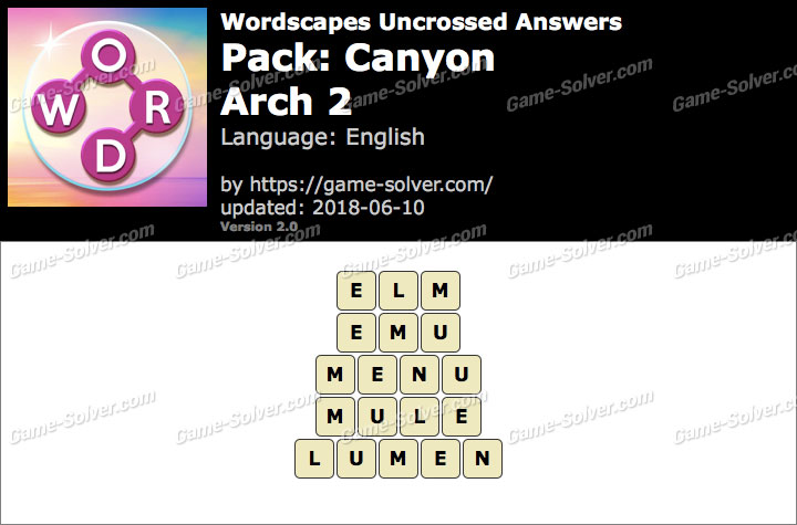 Wordscapes Uncrossed Canyon-Arch 2 Answers
