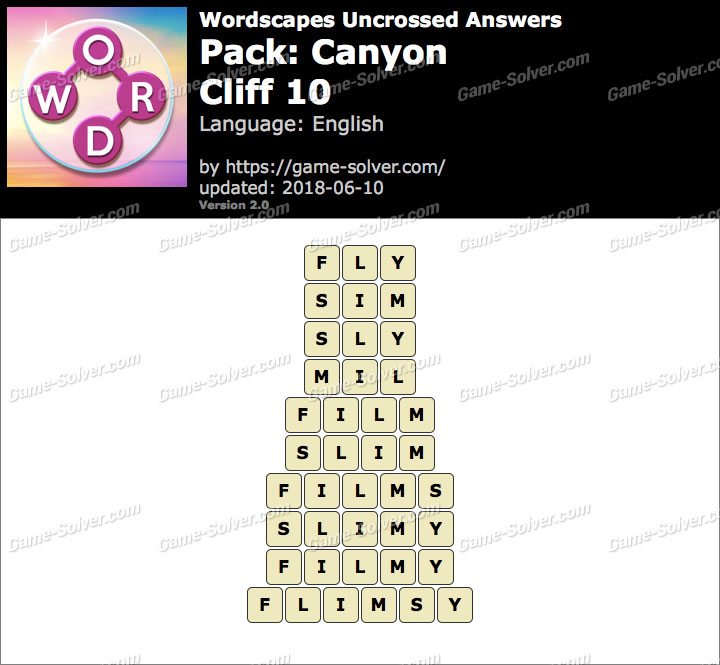 Wordscapes Uncrossed Canyon-Cliff 10 Answers