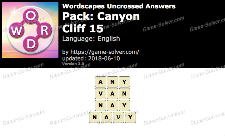 Wordscapes Uncrossed Canyon-Cliff 15 Answers