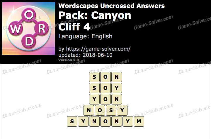 Wordscapes Uncrossed Canyon-Cliff 4 Answers