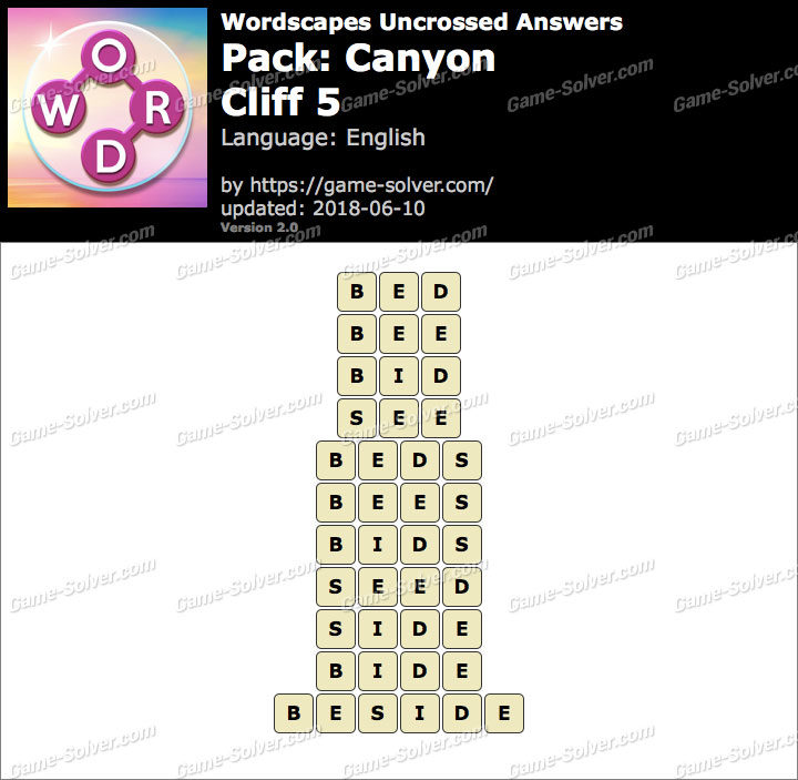 Wordscapes Uncrossed Canyon-Cliff 5 Answers