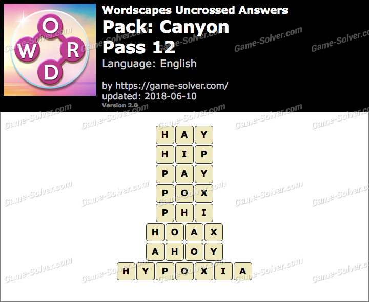 Wordscapes Uncrossed Canyon-Pass 12 Answers