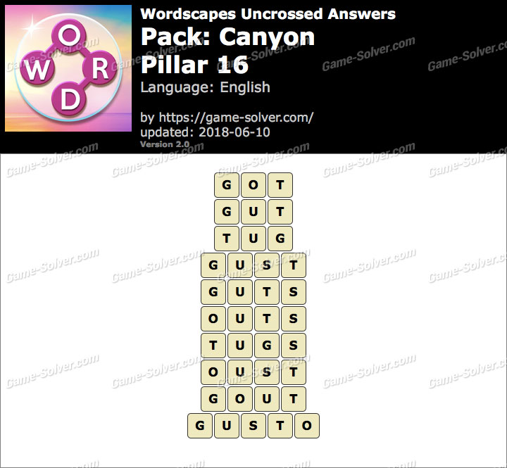 Wordscapes Uncrossed Canyon-Pillar 16 Answers