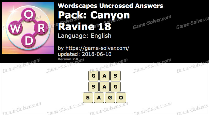Wordscapes Uncrossed Canyon-Ravine 18 Answers