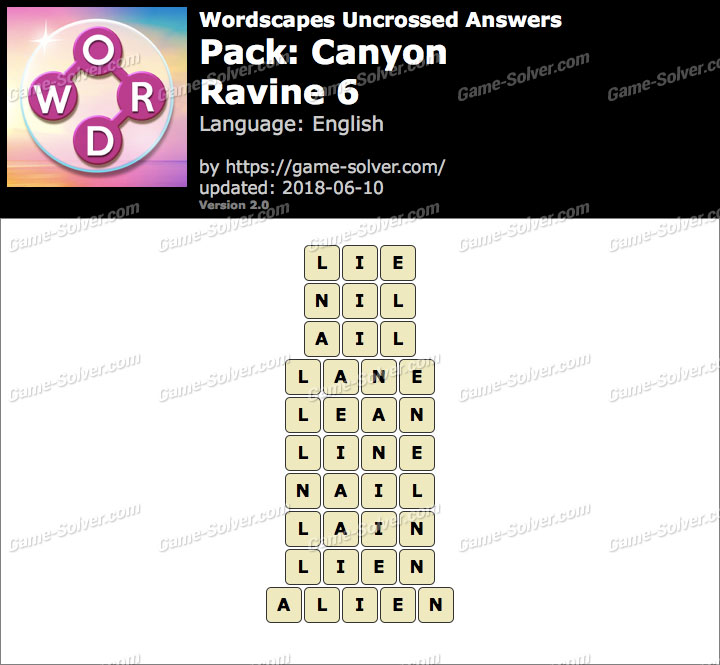 Wordscapes Uncrossed Canyon-Ravine 6 Answers
