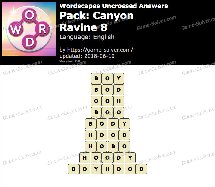 Wordscapes Uncrossed Canyon-Ravine 8 Answers