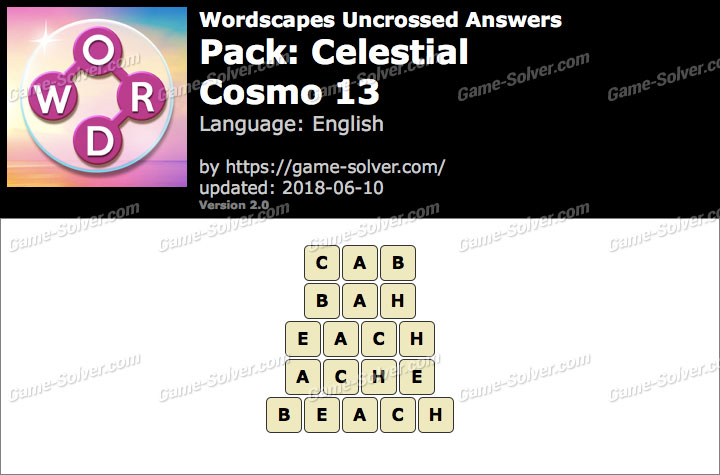 Wordscapes Uncrossed Celestial-Cosmo 13 Answers