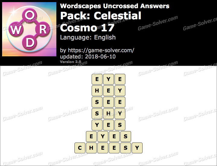 Wordscapes Uncrossed Celestial-Cosmo 17 Answers