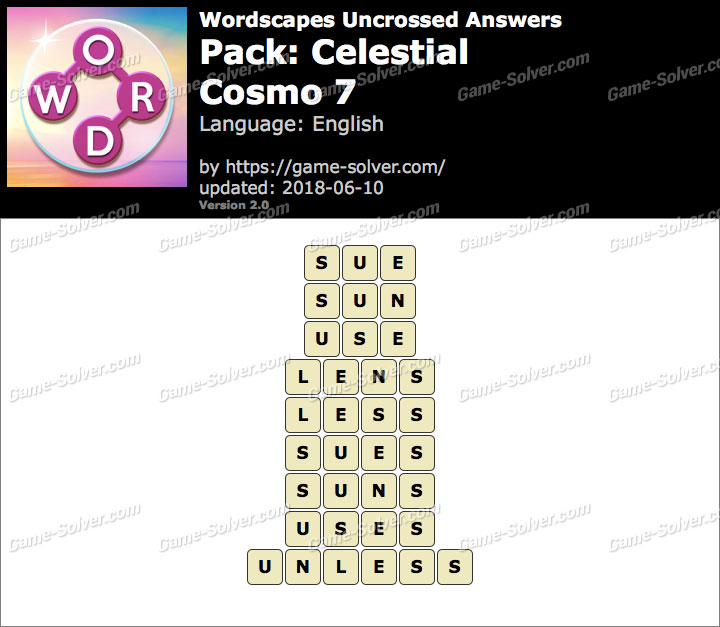 Wordscapes Uncrossed Celestial-Cosmo 7 Answers