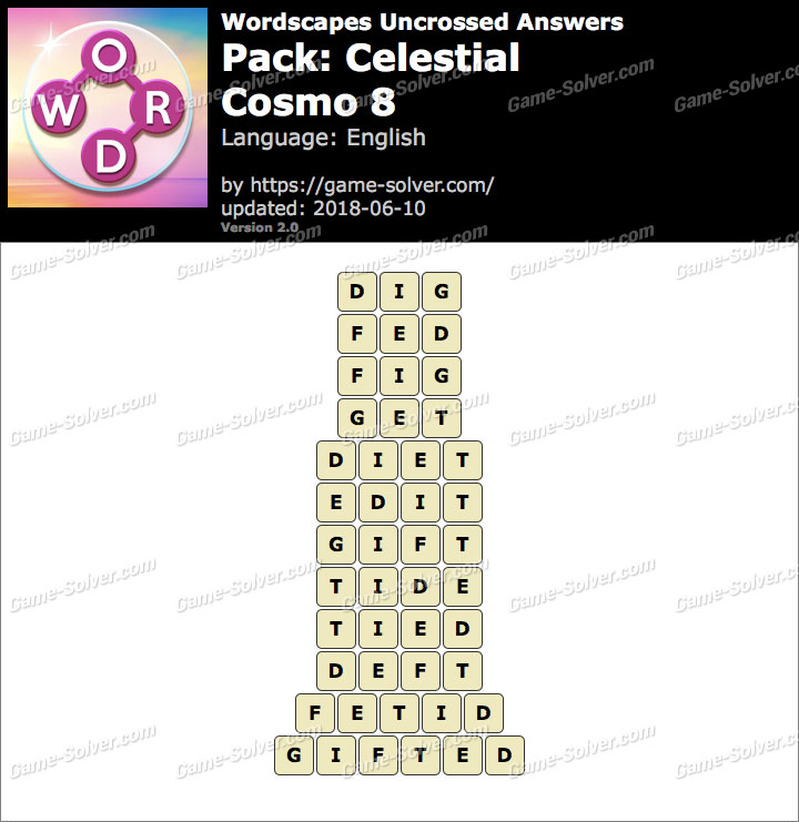 Wordscapes Uncrossed Celestial-Cosmo 8 Answers