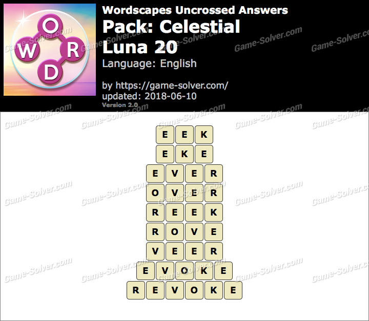 Wordscapes Uncrossed Celestial-Luna 20 Answers