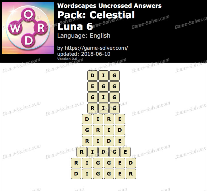 Wordscapes Uncrossed Celestial-Luna 6 Answers