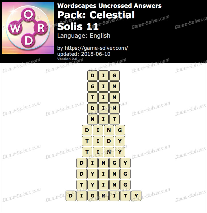 Wordscapes Uncrossed Celestial-Solis 11 Answers