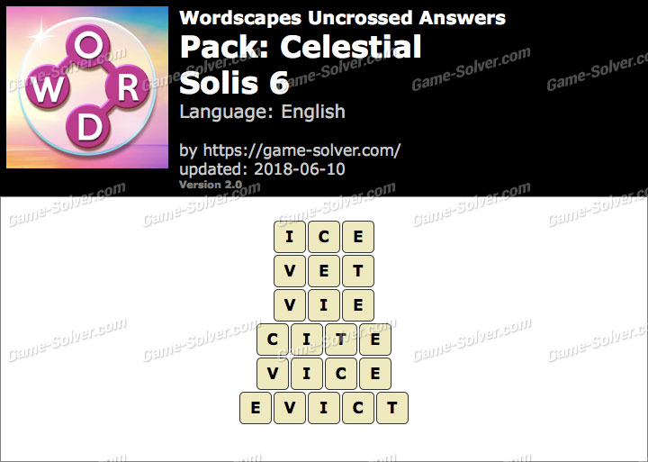 Wordscapes Uncrossed Celestial-Solis 6 Answers