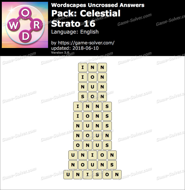 Wordscapes Uncrossed Celestial-Strato 16 Answers
