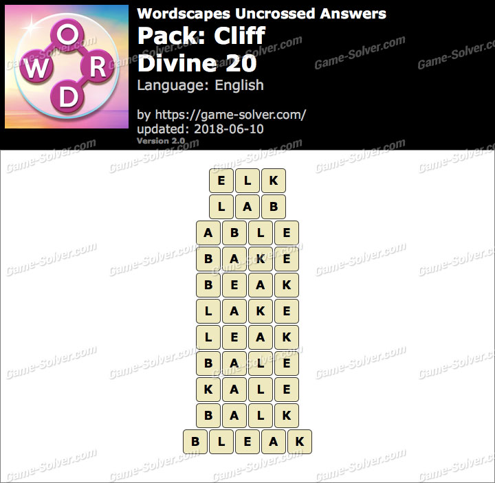 Wordscapes Uncrossed Cliff-Divine 20 Answers