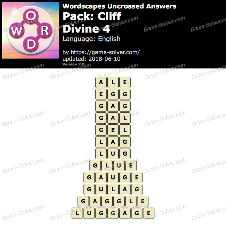 Wordscapes Uncrossed Cliff-Divine 4 Answers