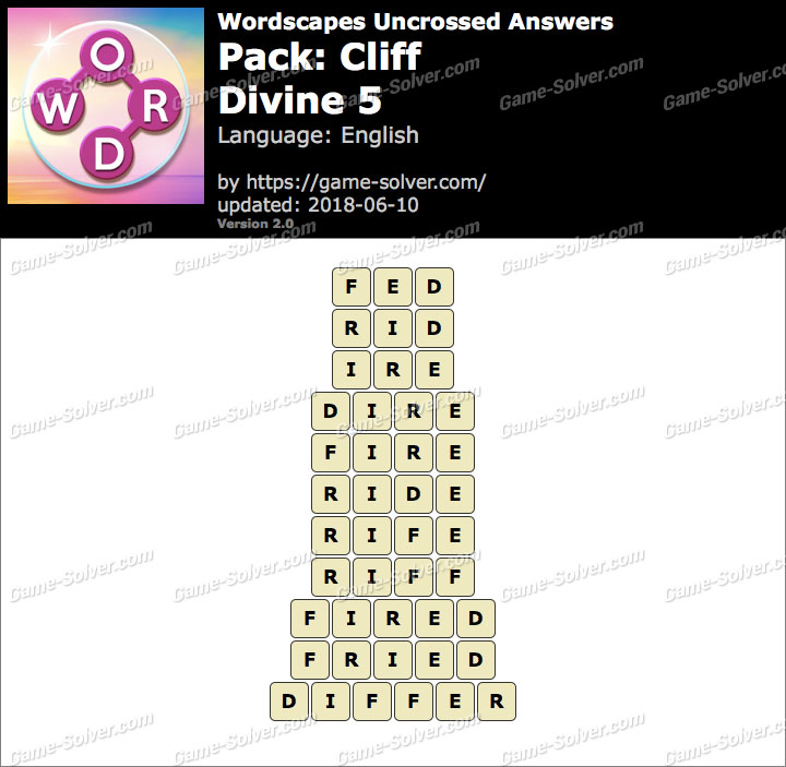 Wordscapes Uncrossed Cliff-Divine 5 Answers