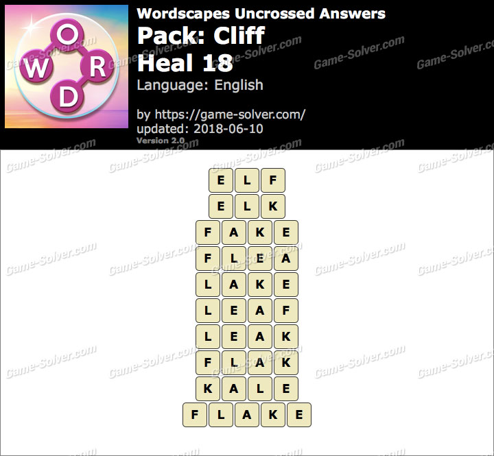 Wordscapes Uncrossed Cliff-Heal 18 Answers