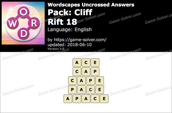 Wordscapes Uncrossed Cliff-Rift 18 Answers
