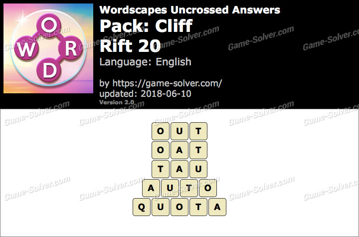 Wordscapes Uncrossed Cliff-Rift 20 Answers