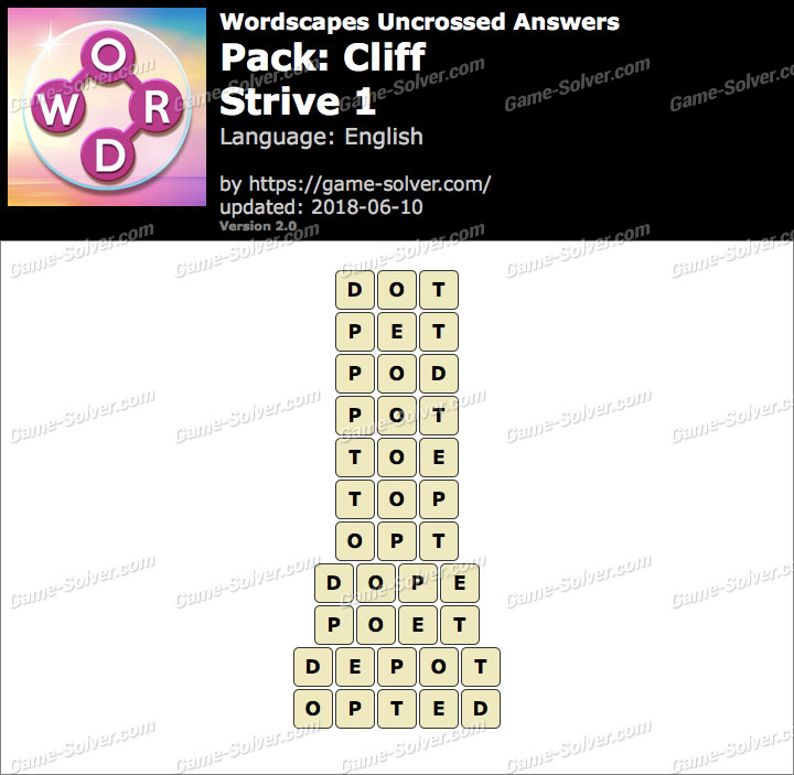 Wordscapes Uncrossed Cliff-Strive 1 Answers