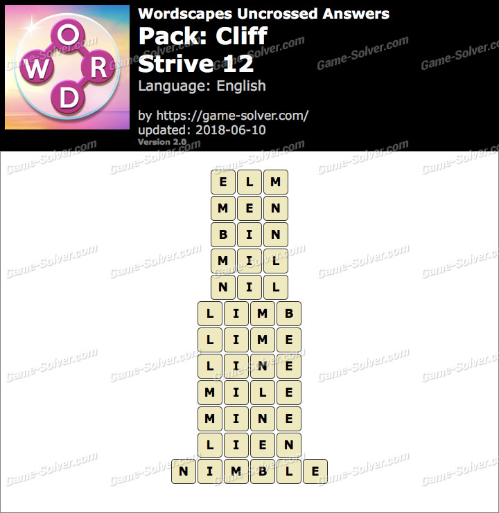 Wordscapes Uncrossed Cliff-Strive 12 Answers