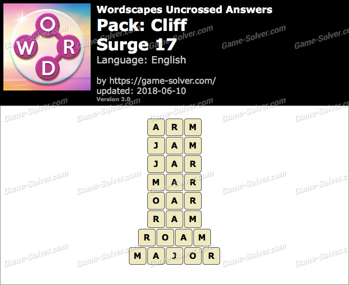 Wordscapes Uncrossed Cliff-Surge 17 Answers