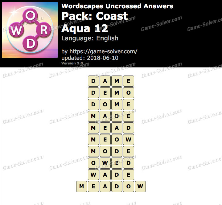 Wordscapes Uncrossed Coast-Aqua 12 Answers