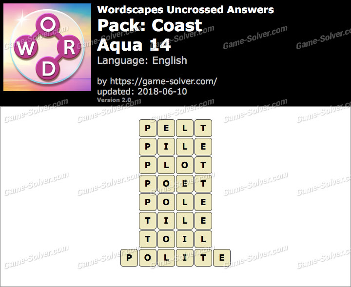Wordscapes Uncrossed Coast-Aqua 14 Answers