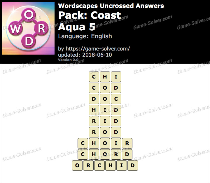 Wordscapes Uncrossed Coast-Aqua 5 Answers
