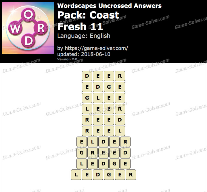 Wordscapes Uncrossed Coast-Fresh 11 Answers