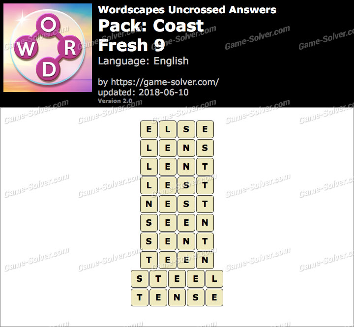 Wordscapes Uncrossed Coast-Fresh 9 Answers