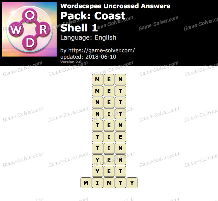 Wordscapes Uncrossed Coast-Shell 1 Answers