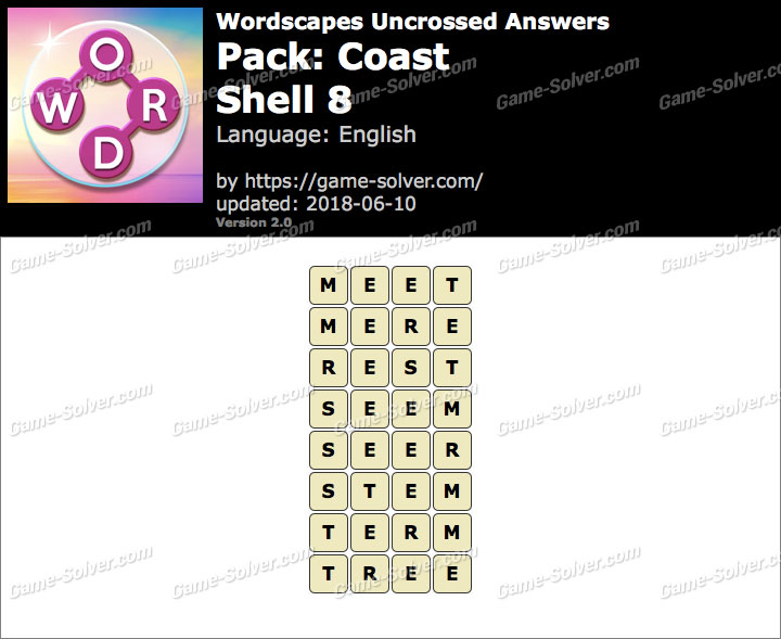 Wordscapes Uncrossed Coast-Shell 8 Answers