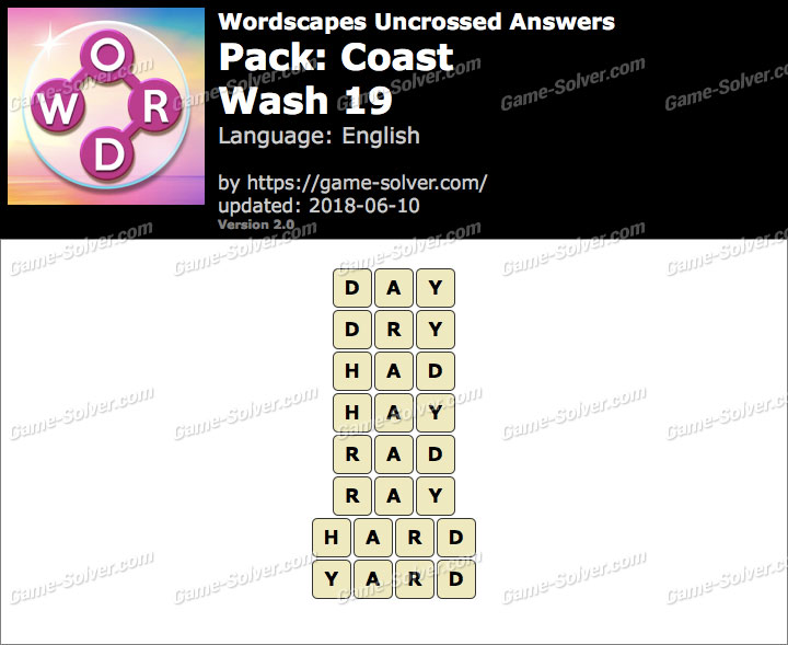 Wordscapes Uncrossed Coast-Wash 19 Answers