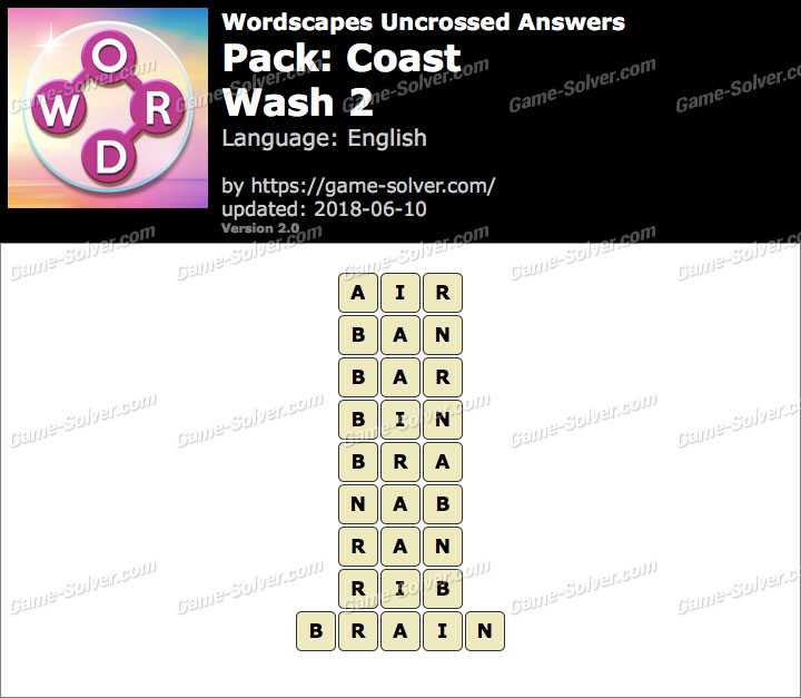 Wordscapes Uncrossed Coast-Wash 2 Answers