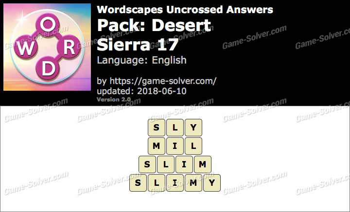 Wordscapes Uncrossed Desert-Sierra 17 Answers