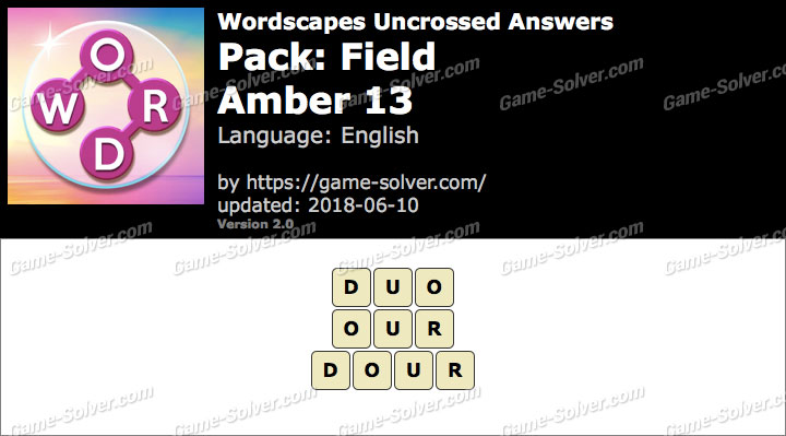 Wordscapes Uncrossed Field-Amber 13 Answers