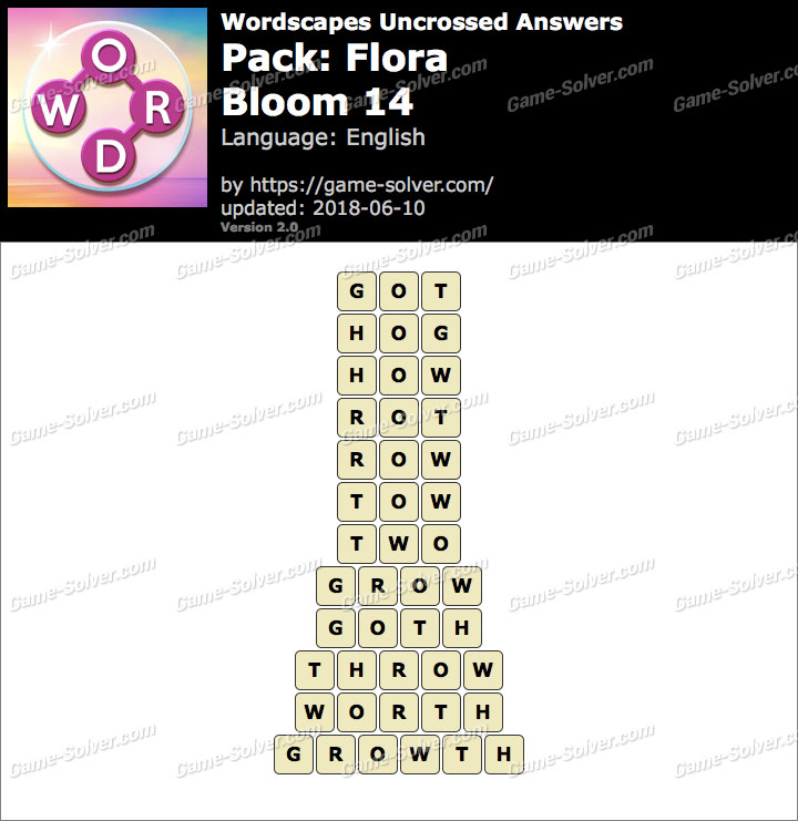 Wordscapes Uncrossed Flora-Bloom 14 Answers