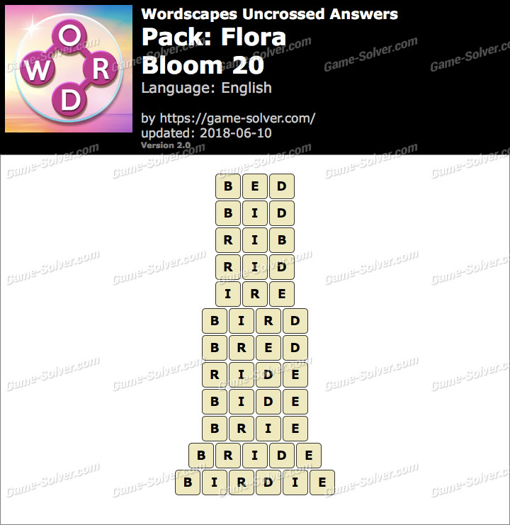 Wordscapes Uncrossed Flora-Bloom 20 Answers