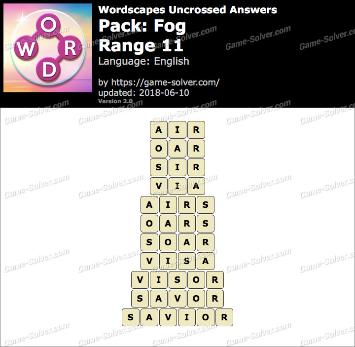 Wordscapes Uncrossed Fog-Range 11 Answers