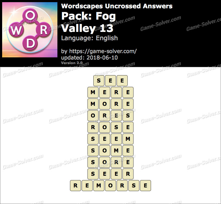 Wordscapes Uncrossed Fog-Valley 13 Answers