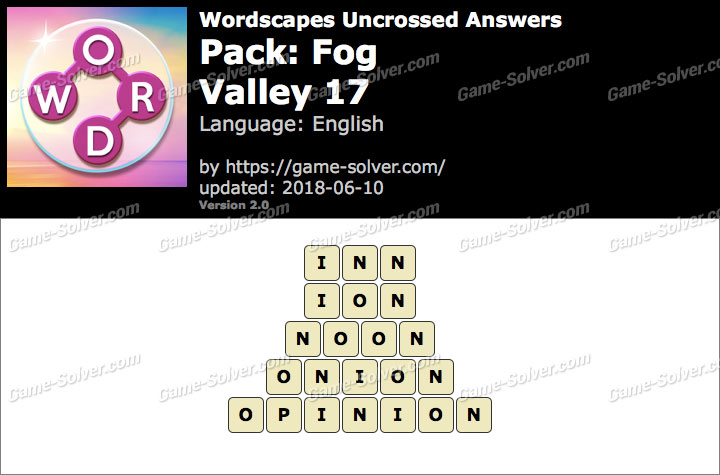 Wordscapes Uncrossed Fog-Valley 17 Answers
