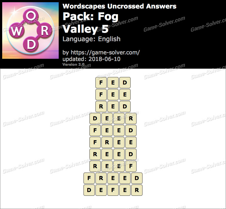 Wordscapes Uncrossed Fog-Valley 5 Answers
