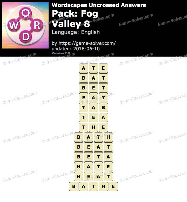 Wordscapes Uncrossed Fog-Valley 8 Answers