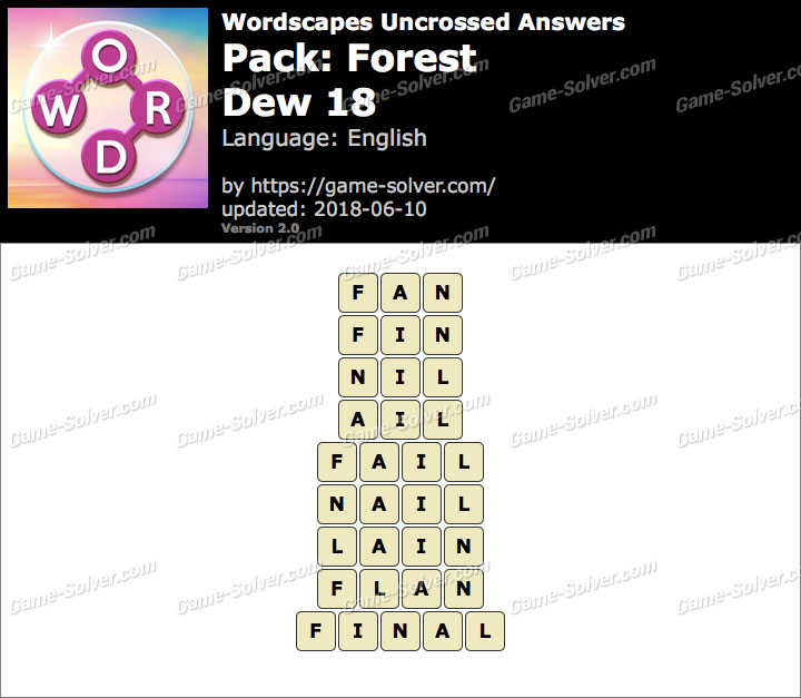 Wordscapes Uncrossed Forest-Dew 18 Answers