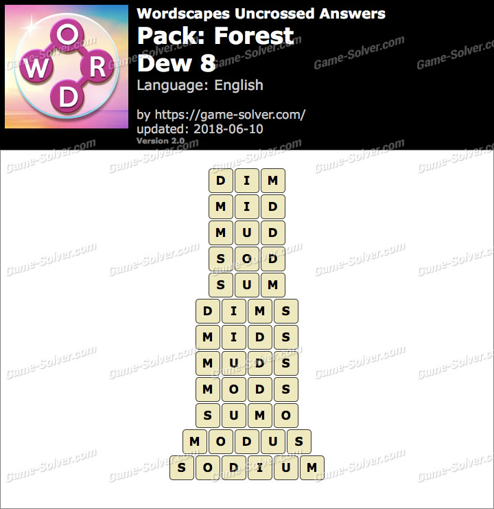 Wordscapes Uncrossed Forest-Dew 8 Answers