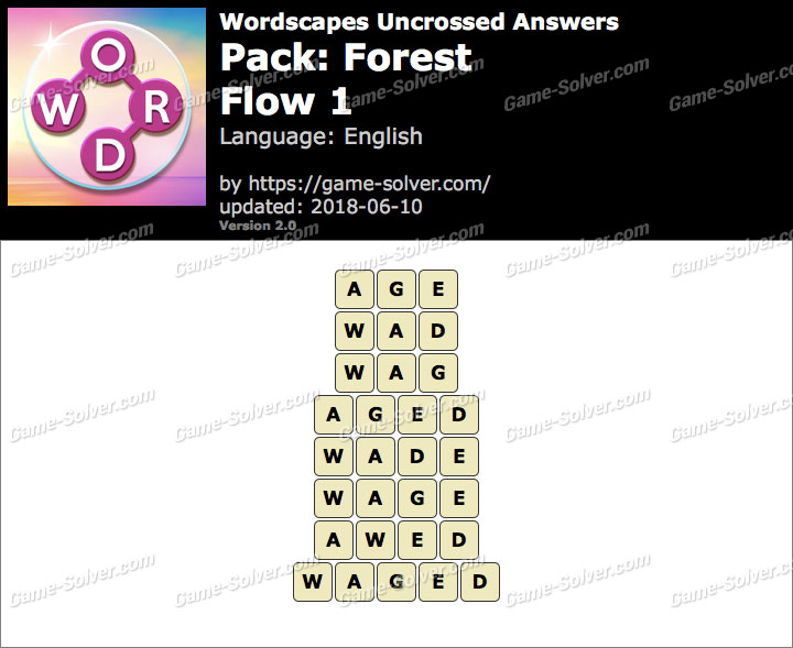 Wordscapes Uncrossed Forest-Flow 1 Answers
