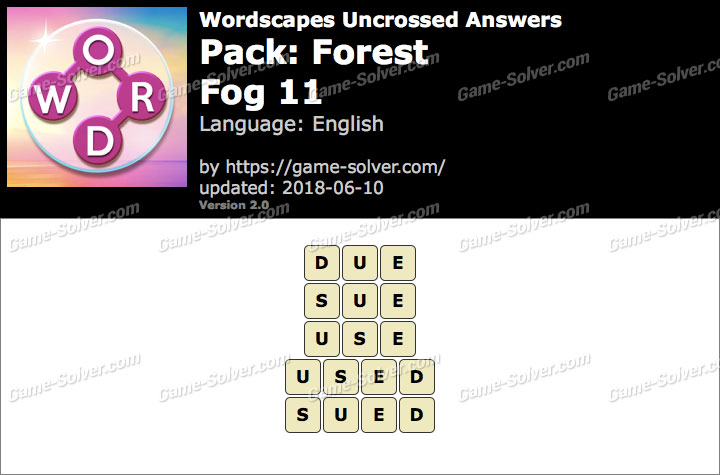 Wordscapes Uncrossed Forest-Fog 11 Answers